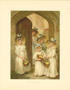 Victorian 1886 Ernest Nister  Antique Childrens Print - Its a Wedding -Bridesmaids in Straw Bonnets Carrying A  Basket Of Flowers Standing At Church Door.