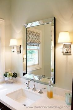 Bathroom Remodel Traditional Beveled Mirror