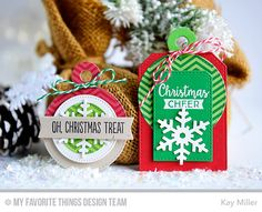 Gift Tag Greetings, Pierced Circle STAX Die-namics, Stitched Circle STAX Die-namics, Let It Snowflake Die-namics, Tag Builder Blueprints 4 Die-namics - Kay Miller  #mftstamps