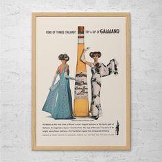 RETRO BARWARE POSTER - Vintage Galliano Ad - Mid Century Wall Art, Retro Bar Poster, 50's Retro Poster, Classic Italian Ad, Vintage Ad