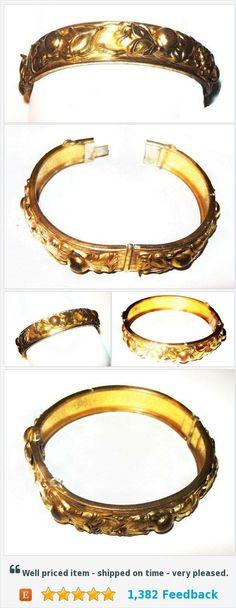 "Gold Repousee Hinged Bracelet Floral Fruit Design BATB 2 3/8"" Vintage Art Nouveau https://www.etsy.com/BrightgemsTreasures/listing/544003795/gold-repousee-hinged-bracelet-floral?ref=shop_home_active_10"
