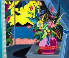 New Jekyll Island Club by Erik Parker, 2012, acrylic on canvas, 40 x 48 inches, Paul Kasmin Gallery