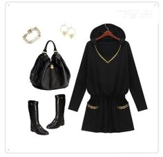 أسود تونك مقنعين 2014 الخريف المرأة الخصر النحيف studed برشام طويلة الأكمام القميص، زائد حجم s xxxxl، الشحن