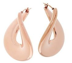 Oro Nuovo Bold Polished Flat Twist Hoop Earrings 14K