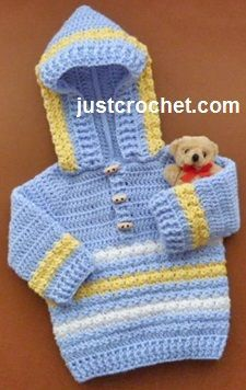 Hoodie with Toggle Buttons Free Crochet Pattern