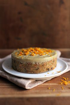 raw carrot cake with cashew cream frosting and orange zest - no sugar, no dairy, no wheat, no cooking - yes delicious!