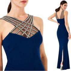 Sexy vestito lungo aderente con cristalli spacco dietro  Taglia s/m  https://www.lorcastyle.it