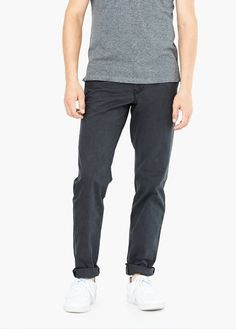 $49, Charcoal Chinos: Mango Straight Fit Cotton Chinos. Sold by Mango. Click for more info: https://lookastic.com/men/shop_items/316485/redirect