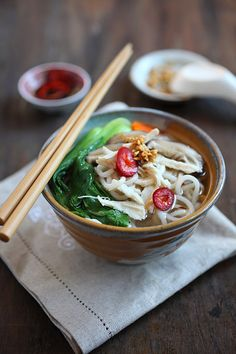 Chinese Chicken Noodle Soup: utterly healthy, delicious, and easy to make. For the Chinese, noodles means longevity, so it's good to eat something that signifies great health at the start of the year.  It's extremely hearty, especially during the cold winter months. #healthy #chinese #noodle