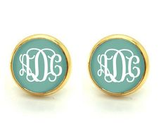 Monogram earring post ,gold plated earrings ,2 kinds of finish available