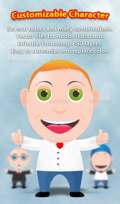 Super Toon Character Creation Kit  #GraphicRiver         Super Toon Character Creation Kit is an easy way to customize your mascot toon character for web or print. It is 100% vector based for Adobe Illustrator with rasterized PSD version included. Easy to change the colors and customize character with single click.   Ability to change eyes, mouth, hair, facial hair, suits, accessories, hats and more.     Created: 24August12 GraphicsFilesIncluded: PhotoshopPSD #AIIllustrator Layered: Yes…