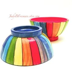 These bowls are an homage to the incredible rainbows that magically appear. These bowls would be perfect for so many things: ice cream, soup, cereal, yogurt, fruit, serving nuts or better yet candies, and dips. The list goes on and on. These bowls would make a perfect gift or better yet, a gift for yourself. Sold as a pair with coordinated colors of your choose for the interior and foot, plus rainbow stripes on the exterior.  Dimensions -approximately 5.5 in diameter and about 2.5 in height…