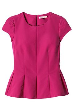 Women's wear designer Rebecca Taylor has created this hot-pink flutter top with a pleated peplum hem. Half of the proceeds from the pink top will go directly to the Triple Negative Breast Cancer Foundation. Blouse Styles, Blouse Designs, Hijab Fashion, Fashion Dresses, Peplum Shirts, Ruffle Shirt, Frilly Shirt, Pleated Shirt, Peplum Tops