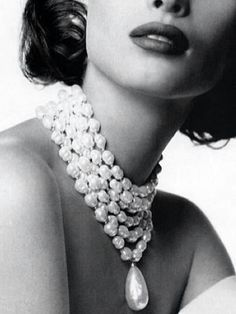 Pearls on hollywood starlet; black and white photography