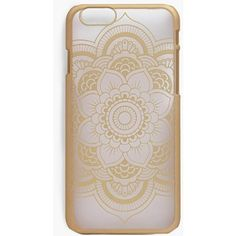 Boohoo Floral Mandala IPhone 6 Phone Case ($10) ❤ liked on Polyvore featuring accessories, tech accessories and gold