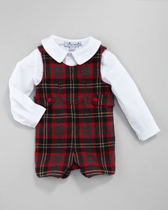 Peter+Pan+Collar+Shirt+&+Jack+Plaid+Shortalls+by+Busy+Bees+at+Neiman+Marcus.
