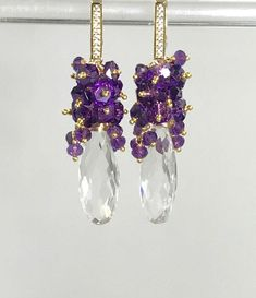 Jewelry Making Desk Amethyst Cluster Crystal Quartz Long Earrings by Doolittle Jewelry. Jewelry Making Desk Amethyst Cluster Crystal Quartz Long Earrings by Doolittle Jewelry Bar Stud Earrings, Cluster Earrings, Bridal Earrings, Beaded Earrings, Earrings Handmade, Bridal Jewelry, Statement Earrings, Moonstone Earrings, Amethyst Jewelry