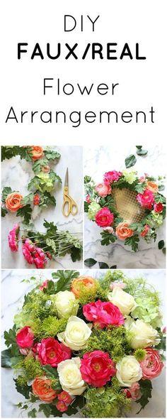 Tutorial for a Real/Faux Flower Arrangement - Inexpensive yet Beautiful! #weddingflowerarrangements