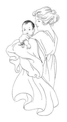 madre y el bebé clip art de arte en blanco y negro, ejemplo de libro del bebé del vintage, el bebé y la mamá gráfico, imagen bebé imprimible