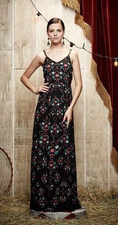 Vestido Longo Floral Vintage   Novidades   Antix Store