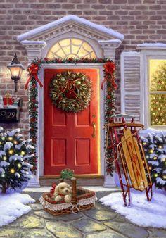 images noel - Page 7 Christmas Scenes, Noel Christmas, Merry Little Christmas, Vintage Christmas Cards, Christmas Pictures, Winter Christmas, Christmas Puppy, Christmas Ecard, Christmas Presents
