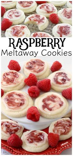 Raspberry Meltaway Cookies just melt in your mouth! Perfect topped with a simple almond glaze swirled with raspberry jam. Raspberry Meltaway Cookies just melt in your mouth! Perfect topped with a simple almond glaze swirled with raspberry jam. Cookie Desserts, Just Desserts, Dessert Recipes, Gourmet Desserts, Desserts With Raspberries, Xmas Desserts, Cheesecake Strawberries, Party Desserts, Drink Recipes