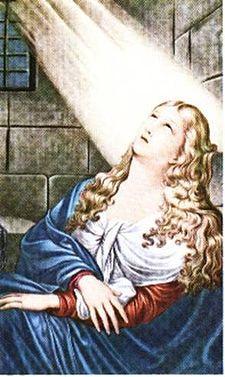Sant'Agata al carcere, da un dipinto custodito nel Duomo di Catania.Nel periodo fra la fine del 250 e l'inizio del 251 il proconsole Quinziano, giunto alla sede di Catania anche con l'intento di far rispettare l'editto dell'imperatore Decio, che chiedeva a tutti i cristiani di abiurare pubblicamente la loro fede,Quinziano s'invaghì della giovinetta e, saputo della consacrazione, le ordinò, senza successo, di ripudiare la sua fede e adorare gli dèi ..
