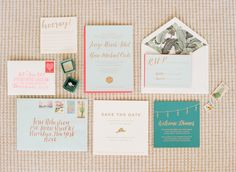 Blogger bride Jessye of City Tonic's colorful invitation suite: http://www.stylemepretty.com/2016/01/26/blogger-bride-jessye-of-city-tonics-colorful-diy-wedding/ | Photography: Ruth Eileen - http://rutheileenphotography.com/