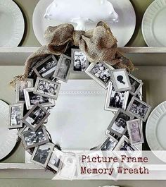 Picture Frame Memory Wreath - This is Beautiful! I would probably do this with a Bright-Colored Bow and either black and white photos or brightly colored  photos.  -Super Cute!!!