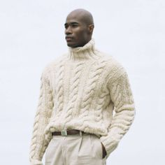 ralphlauren: RL Style Guide Key Piece: The Fisherman's Sweater With its rich texture and even richer history, this rugged sweater gives your ensemble a heritage-inspired look Shop Now Mens Knit Sweater, Hand Knitted Sweaters, Fall Sweaters, Knit Jacket, Cable Sweater, Cable Knit, Rugged Style, Sharp Dressed Man, Well Dressed Men