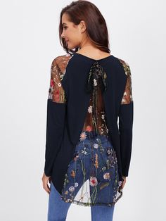 Shop Lace Shoulder Bow Overlap Back Tee online. SheIn offers Lace Shoulder Bow Overlap Back Tee & more to fit your fashionable needs. Latest Fashion For Women, New Fashion, Autumn Fashion, Women's Fashion, Outfits For Teens, Trendy Outfits, Types Of Sleeves, Shirt Sleeves, Blouses For Women