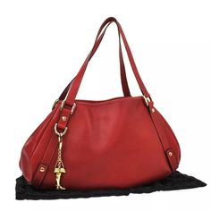 """Gucci GG shoulder bag with removable charm Brand: GUCCI Number: 130736 3444 Pocket:Outside: -0 Inside: Zipper Pocket*1,Pocket*1 Size (Inch) W 18.5 × H 9.8 × D 4.3 """"  Shoulder Drop. 8.3 """" Color: Red Material: Gold/ Leather Comes with: Dust Bag Country of Manufacture: Italy Style: Shoulder Bag Gucci Bags Shoulder Bags"""