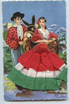 Embroidered Silk Fabrics Spain Flamenco Dance Ethnic Dress 1960s Postcard CJ11   eBay