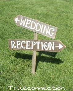 Wedding Sign Arrow Reception Sign Arrow Romantic Outdoor Weddings Hand Painted Reclaimed Wood. Rustic Weddings. Vintage Road Signs Barn by TRUECONNECTION on Etsy https://www.etsy.com/listing/179547002/wedding-sign-arrow-reception-sign-arrow