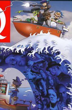 Gorillaz - Q Art Gorillaz, Gorillaz Plastic Beach, 2d And Murdoc, Jamie Hewlett Art, 2d And Noodle, Sunshine In A Bag, Demon Days, Damon Albarn, Tank Girl