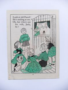 Vintage storybook picture - Punch and Judy