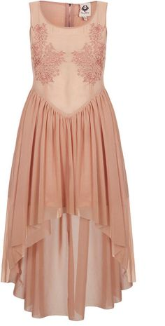 Topshop Embroidered Dip Hem Dress in Pink / Who wants to be my bridesmaids?