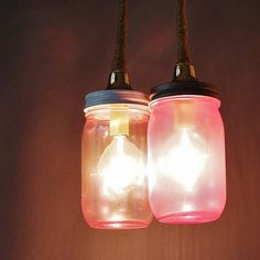 Mason Jar Duo Pendant Light, Pink Tinted Glass and Jute Wrapped Cord.