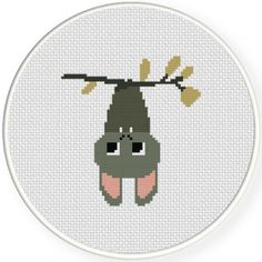 Cute Bat Hanging Cross Stitch Illustration