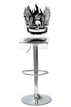 Tabouret verre acrylique Let's Rock tête de mort pied réglable - Acrila