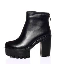 fashion brand top quality women's genuine leather autumn winter ankle boots platform high heels black shoes woman riding boots(China (Mainland))