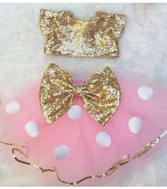 Items similar to Baby Girls Pink and White Polka-Dot with Gold Sequin Bow Sewn Tutu on Etsy Minnie Mouse Party, Minnie Mouse First Birthday, Baby Girl 1st Birthday, 2nd Birthday Parties, Birthday Ideas, Birthday Outfits, Birthday Dresses, Baby Girls, Baby Girl Dresses