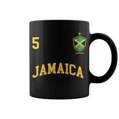 Jamaica Number 5 Soccer Team Sports Jamaican Flag Mug