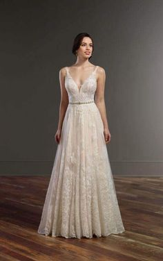 848 Boho Wedding Dress with Plunging Neckline by Martina Liana