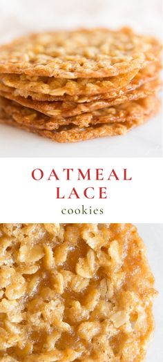 Low Calorie Oatmeal Lace Cookies - Oatmeal Lace Cookies are a thin, chewy oatmeal cookie with a deliciously sugary taste, that are stackable for easy gifting. Lace Cookies are made with just 7 staple ingredients and are so quick and easy to make! Köstliche Desserts, Delicious Desserts, Plated Desserts, Oatmeal Lace Cookies, Oatmeal Dessert, Desserts With Oatmeal, Oatmeal Cake, Christmas Desserts, Christmas Parties