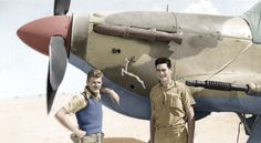 """photo of """"Bomb"""" Finney and his armourer with their hurricane in North-Africa. South African Air Force, Sky People, The Spitfires, Hawker Hurricane, Ww2 Photos, Battle Of Britain, Fighter Pilot, Ww2 Aircraft, Nose Art"""