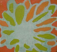 "5.5"" x 6"" Original Acrylic Painting on Wood - Bright Flower - Yellow, Orange, Coral. via Etsy."