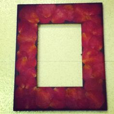 valentine's picture frame with dried rose petals