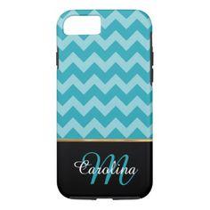 #monogrammed - #Blue Chevron Pattern  Name and Monogram iPhone 7 Case