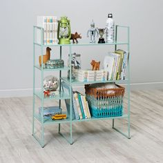 Shop Metalwork Bookcase (Mint).  Adding a stylish and functional bookcase to your room shouldn't be hard work.  And thanks to our mint Metalwork Bookcase's streamlined design and durable, powder coated steel construction, it won't be.